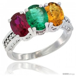 14K White Gold Natural Ruby, Emerald & Whisky Quartz Ring 3-Stone Oval 7x5 mm Diamond Accent