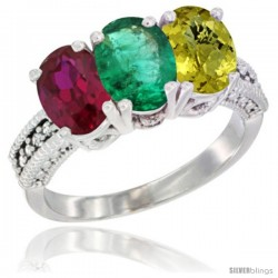 14K White Gold Natural Ruby, Emerald & Lemon Quartz Ring 3-Stone Oval 7x5 mm Diamond Accent
