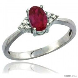 14k White Gold Ladies Natural Ruby Ring oval 7x5 Stone Diamond Accent