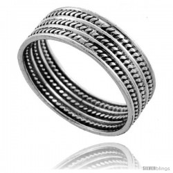 Sterling Silver Bali Style Rope Wedding Band Ring 3/8 wide