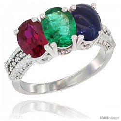 14K White Gold Natural Ruby, Emerald & Lapis Ring 3-Stone Oval 7x5 mm Diamond Accent