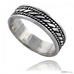 Sterling Silver Spiral Rope Design Wedding Band Ring 3/16 in wide, 3/16 in wide