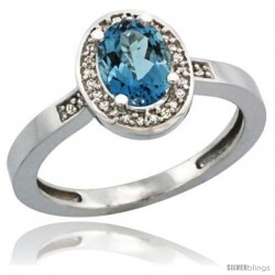 Sterling Silver Diamond Natural London Blue Topaz Ring 1 ct 7x5 Stone 1/2 in wide
