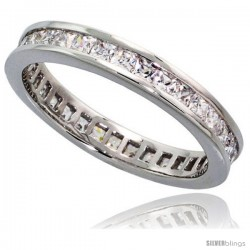 Sterling Silver Cubic Zirconia Eternity Band Ring Princess cut 2mm Rhodium finish
