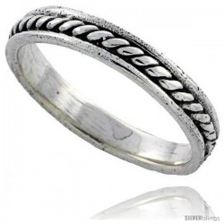 Sterling Silver Spiral Rope Design Wedding Band Ring, 1/8 in wide