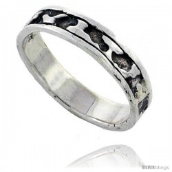 Sterling Silver Freeform Wedding Band Ring, 1/8 in wide