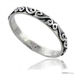 Sterling Silver Thin Swirl Wedding Band Ring, 1/8 in wide