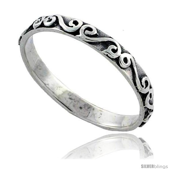 Sterling Silver Thin Swirl Wedding Band Ring 1 8 In Wide Silverblings