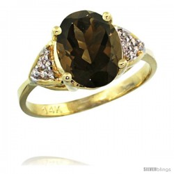 14k Yellow Gold Diamond Smoky Topaz Ring 2.40 ct Oval 10x8 Stone 3/8 in wide