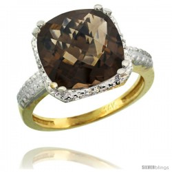 14k Yellow Gold Diamond Smoky Topaz Ring 5.94 ct Checkerboard Cushion 11 mm Stone 1/2 in wide