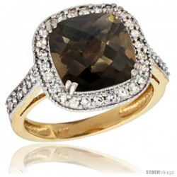 14k Yellow Gold Diamond Halo Smoky Topaz Ring Checkerboard Cushion 9 mm 2.4 ct 1/2 in wide