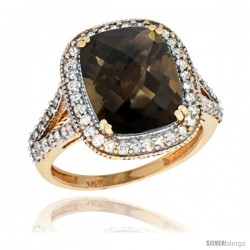 14k Yellow Gold Diamond Halo Smoky Topaz Ring Checkerboard Cushion 12x10 4.8 ct 3/4 in wide