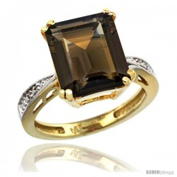 14k Yellow Gold Diamond Smoky Topaz Ring 5.83 ct Emerald Shape 12x10 Stone 1/2 in wide -Style Cy407149