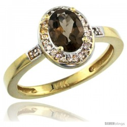 14k Yellow Gold Diamond Smoky Topaz Ring 1 ct 7x5 Stone 1/2 in wide