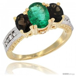 14k Yellow Gold Ladies Oval Natural Emerald 3-Stone Ring with Smoky Topaz Sides Diamond Accent
