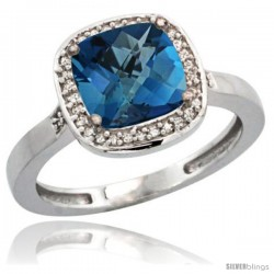 Sterling Silver Diamond Natural London Blue Topaz Ring 2.08 ct Checkerboard Cushion 8mm Stone 1/2.08 in wide