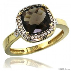 14k Yellow Gold Diamond Smoky Topaz Ring 2.08 ct Checkerboard Cushion 8mm Stone 1/2.08 in wide