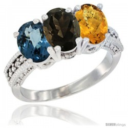 14K White Gold Natural London Blue Topaz, Smoky Topaz & Whisky Quartz Ring 3-Stone 7x5 mm Oval Diamond Accent