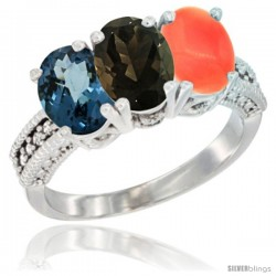 14K White Gold Natural London Blue Topaz, Smoky Topaz & Coral Ring 3-Stone 7x5 mm Oval Diamond Accent