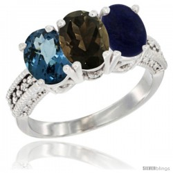 14K White Gold Natural London Blue Topaz, Smoky Topaz & Lapis Ring 3-Stone 7x5 mm Oval Diamond Accent