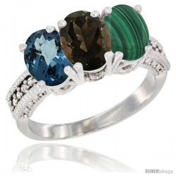 14K White Gold Natural London Blue Topaz, Smoky Topaz & Malachite Ring 3-Stone 7x5 mm Oval Diamond Accent