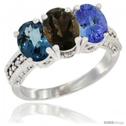 14K White Gold Natural London Blue Topaz, Smoky Topaz & Tanzanite Ring 3-Stone 7x5 mm Oval Diamond Accent