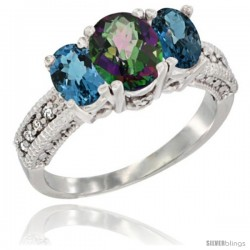 14k White Gold Ladies Oval Natural Mystic Topaz 3-Stone Ring with London Blue Topaz Sides Diamond Accent