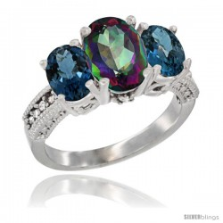 14K White Gold Ladies 3-Stone Oval Natural Mystic Topaz Ring with London Blue Topaz Sides Diamond Accent