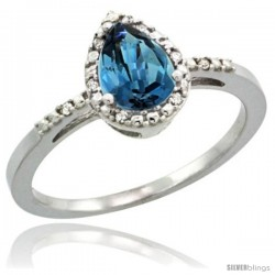 Sterling Silver Diamond Natural London Blue Topaz Ring 0.59 ct Tear Drop 7x5 Stone 3/8 in wide