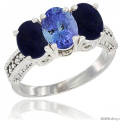 10K White Gold Natural Tanzanite & Lapis Sides Ring 3-Stone Oval 7x5 mm Diamond Accent