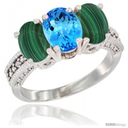 10K White Gold Natural Swiss Blue Topaz & Malachite Sides Ring 3-Stone Oval 7x5 mm Diamond Accent
