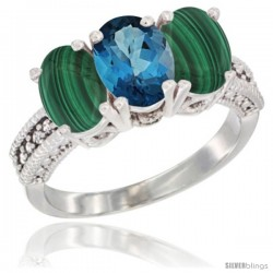 10K White Gold Natural London Blue Topaz & Malachite Sides Ring 3-Stone Oval 7x5 mm Diamond Accent
