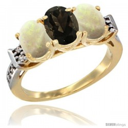10K Yellow Gold Natural Smoky Topaz & Opal Sides Ring 3-Stone Oval 7x5 mm Diamond Accent