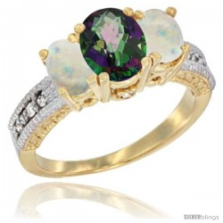 10K Yellow Gold Ladies Oval Natural Mystic Topaz 3-Stone Ring with Opal Sides Diamond Accent