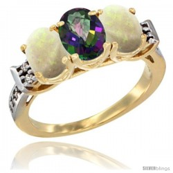 10K Yellow Gold Natural Mystic Topaz & Opal Sides Ring 3-Stone Oval 7x5 mm Diamond Accent