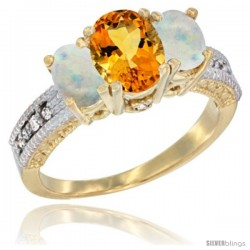 10K Yellow Gold Ladies Oval Natural Citrine 3-Stone Ring with Opal Sides Diamond Accent