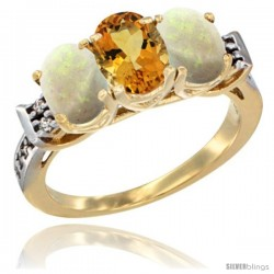 10K Yellow Gold Natural Citrine & Opal Sides Ring 3-Stone Oval 7x5 mm Diamond Accent