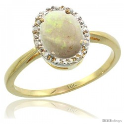 10k Yellow Gold Opal Diamond Halo Ring 8X6 mm Oval Shape, 1/2 in wide