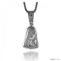 Sterling Silver Mother Mary Pendant, Made in Italy. 1/2 in. (13 mm) Tall