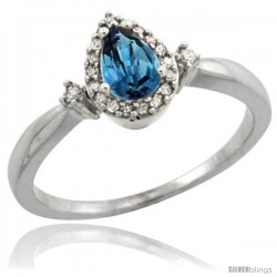 Sterling Silver Diamond Natural London Blue Topaz Ring 0.33 ct Tear Drop 6x4 Stone 3/8 in wide