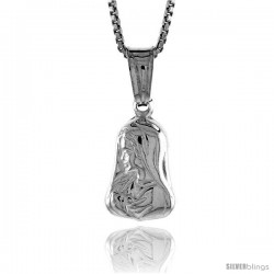 Sterling Silver Mother Mary Pendant, Made in Italy. 1/2 in. (13 mm) Tall -Style Iph52
