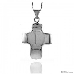 Sterling Silver Large Cross Pendant, Made in Italy. 1 3/4 in. (45 mm) Tall