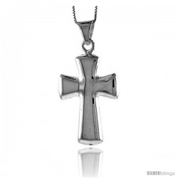 Sterling Silver Large Cross Pendant, Made in Italy. 1 11/16 in. (43 mm) Tall