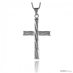 Sterling Silver Large Cross Pendant, Made in Italy. 2 in. (50 mm) Tall -Style Iph57