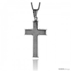 Sterling Silver Cross Pendant, Made in Italy. 1 1/16 in. (27 mm) Tall