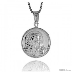Sterling Silver Madonna & Child Medal, Made in Italy. 11/16 in. (18 mm) in Diameter.