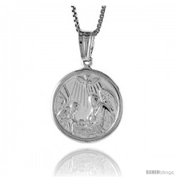 Sterling Silver Nativity Medal, Made in Italy. 5/8 in. (17 mm) in Diameter.