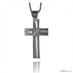 Sterling Silver Cross Pendant, Made in Italy. 1 3/16 in. (30 mm) Tall -Style Iph70