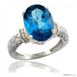 Sterling Silver Diamond Natural London Blue Topaz Ring 5.5 ct Oval 14x10 Stone