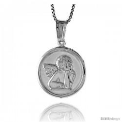 Sterling Silver Guardian Angel Medal, Made in Italy. 5/8 in. (17 mm) in Diameter.